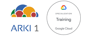 Logo Arki1 e Google Cloud Training Partner